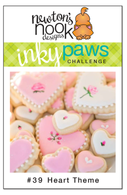 Inky Paws Challenge #39 - Use a Heart! Newton's Nook Designs #newtonsnook